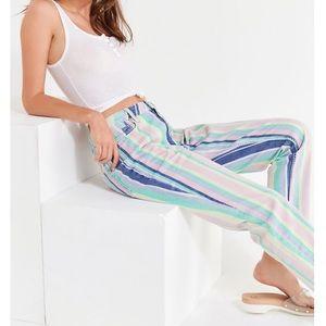 UO BDG Striped High Waist Mom Jeans Pastel Rainbow